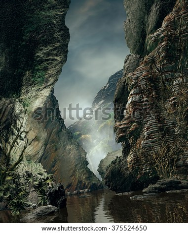 3D Illustration of landscape of river canyon with large rocks where it is observed vegetation in the background shrouded by haze - stock photo