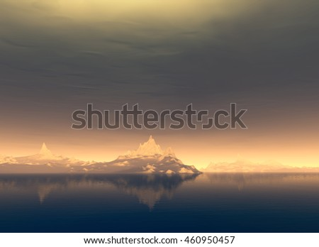 3D Illustration of landscape where observed mountains in the background on calm waters in a serene atmosphere