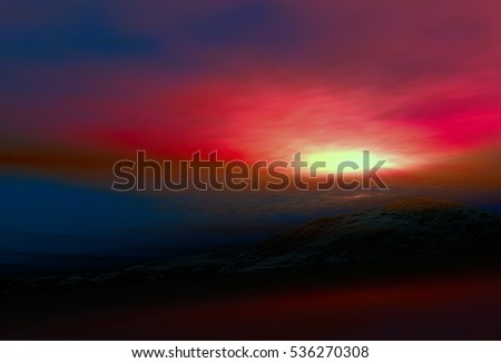 3D Illustration of landscape where one observes a mountain isolated at dusk