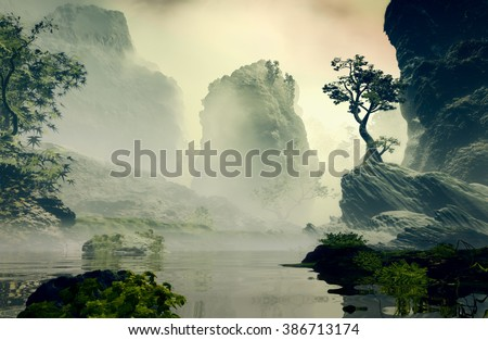 3D Illustration of landscape with fancy concept which highlights a large tree on a rock and big rocks in the background with vegetation covered up by an atmosphere clouded - stock photo