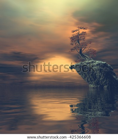 3D Illustration of landscape with fancy concept which observed an isolated rock and a prominent tree on calm water at dusk