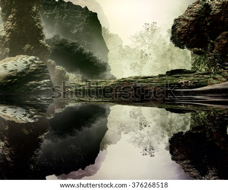 3D Illustration of landscape with large rocks on a serene lake and vegetation in the background in an atmosphere foggy - stock photo