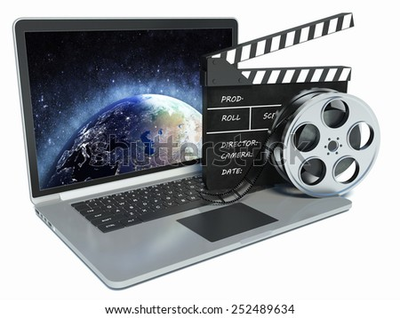 3d illustration of laptop and cinema clap and film reel. mounting concept - stock photo