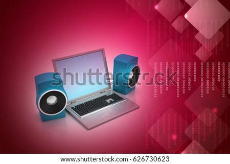 3d illustration of Laptop and sound system