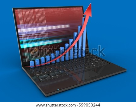 3d illustration of laptop computer over blue background with red digital screen and rising graph