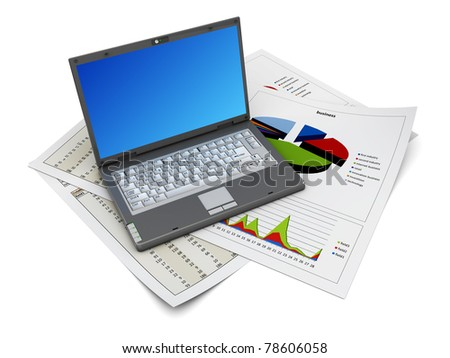 3d illustration of laptop computer over business prints - stock photo
