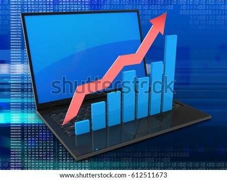 3d illustration of laptop computer over digital background with blue reflection screen and rising charts
