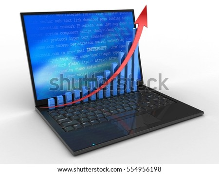 3d illustration of laptop computer over white background with internet screen and rising graph