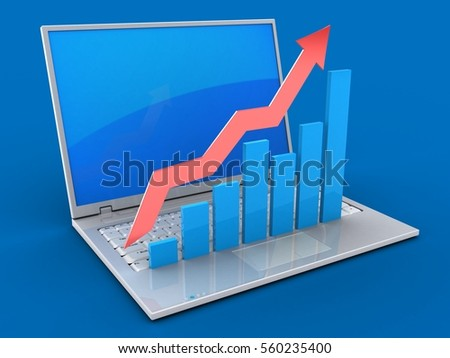 3d illustration of laptop over blue background with blue reflection screen and rising charts