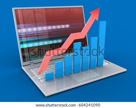 3d illustration of laptop over blue background with red digital screen and rising charts