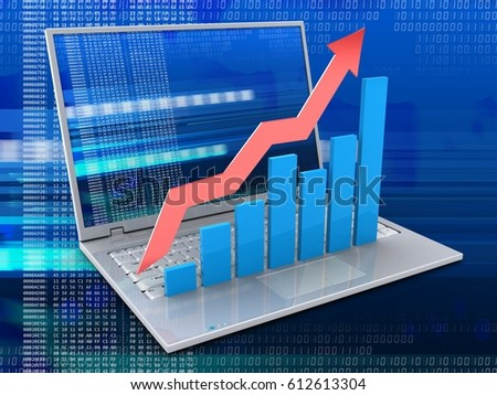 3d illustration of laptop over digital background with digital screen and rising charts
