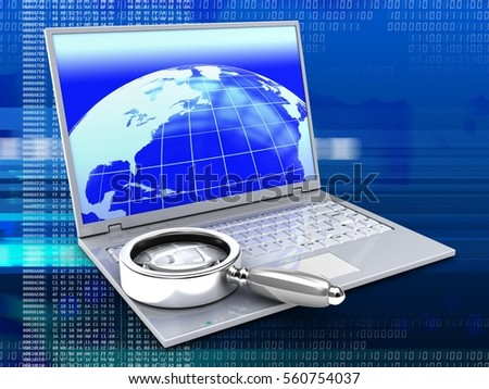 3d illustration of laptop over digital background with earth screen and magnify flass