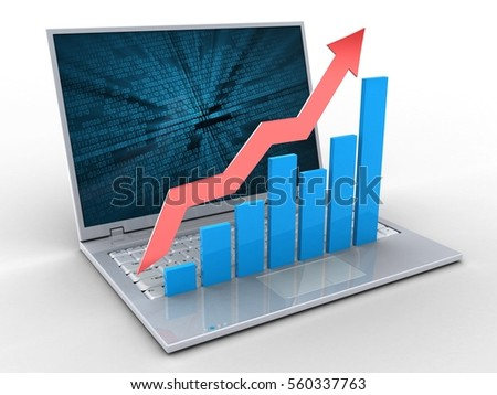 3d illustration of laptop over white background with binary data screen and rising charts