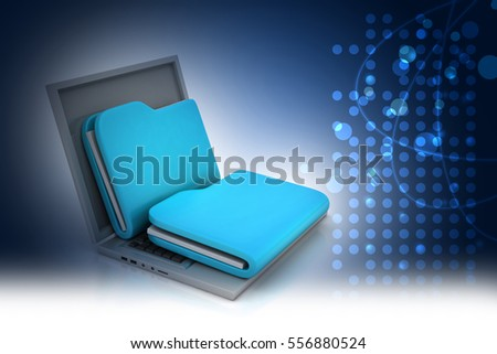 3D illustration of Laptop with file folder