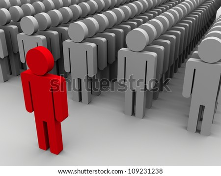 3d illustration of leader with his followers - stock photo