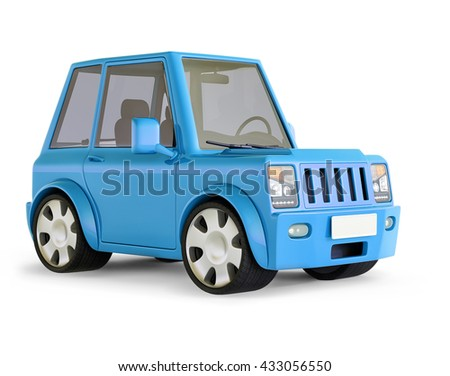 3D illustration of Light blue SUV cartoon car views front perspective