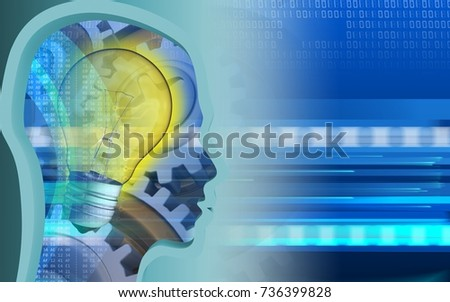 3d illustration of light bulb over cyber background with gears