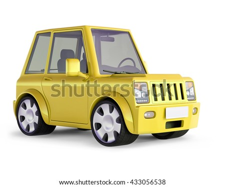 3D illustration of Light yellow  SUV cartoon car views front perspective