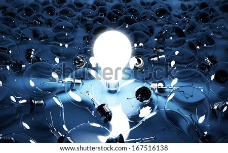 3d illustration of lignt bulb glowing. Energy concept - stock photo