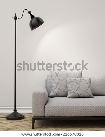 3D illustration of  living room, sofa and lamp, background - stock photo