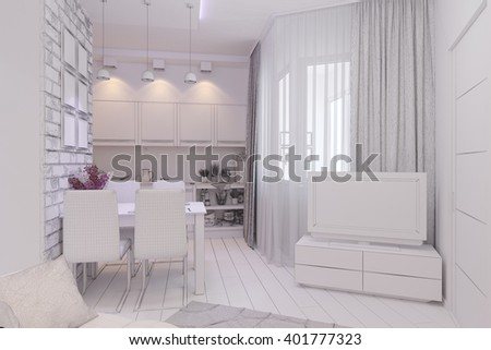 3d illustration of Living room with kitchen interior design in a modern style. Interior displayed in the polygon mesh.