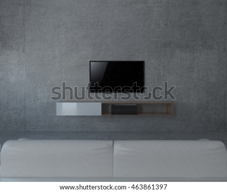 3D illustration of living room with led TV on concrete wall.