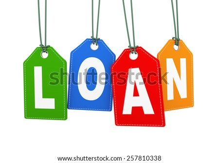 3d illustration of loan word text hanging with string label tag - stock photo
