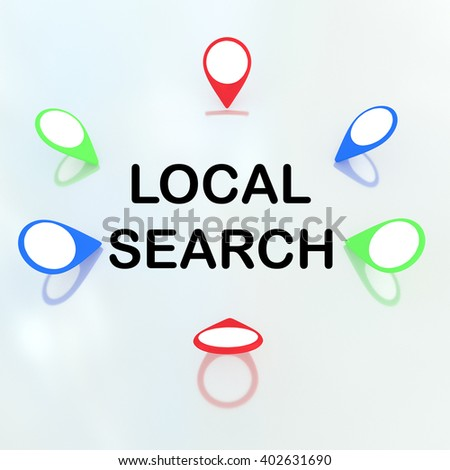 """3D illustration of """"LOCAL SEARCH"""" title surrounded by location markers. Locality concept. - stock photo"""
