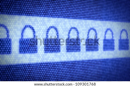 3d illustration of lock concept on computer screen - stock photo