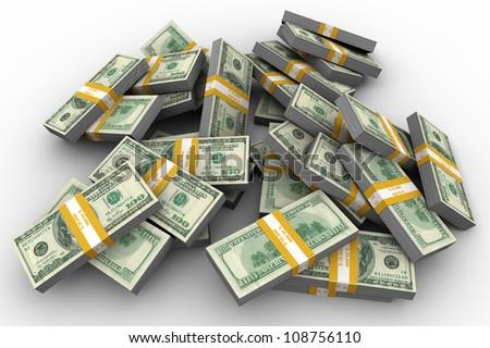 3d illustration of lot of dollar packs - stock photo