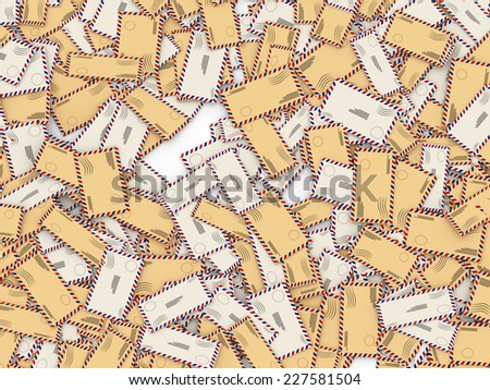 3d illustration of lot of letters and envelopes - stock photo