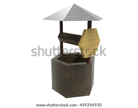3d illustration of low poly water well. icon for game web. white background isolated.  - stock photo