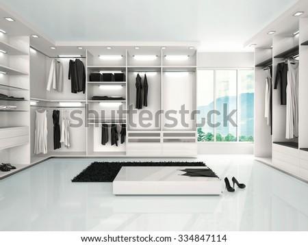 3d illustration of luxury wardrobe in modern style - stock photo