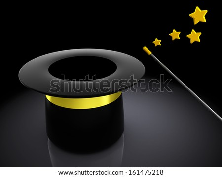 3d illustration of magical hat with wand over dark background