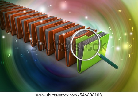 3D illustration of Magnifying glass with file folder