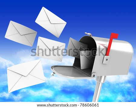 3d illustration of mailbox with many letters over blue sky background
