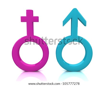 3d illustration of Male and female signs on white background - stock photo