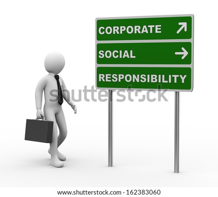 3d illustration of man and green roadsign of csr - corporate social responsibility. 3d rendering of human people character - stock photo