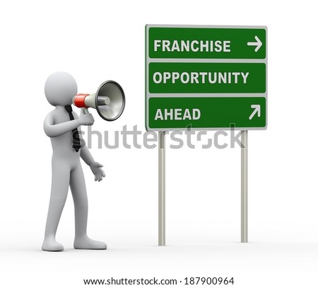 3d illustration of man announcement franchise opportunity through megaphone. 3d rendering of human people character. - stock photo