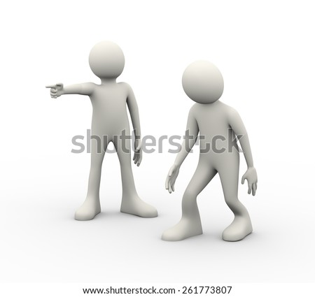 3d illustration of man being fired by his angry boss. 3d human person character and white people