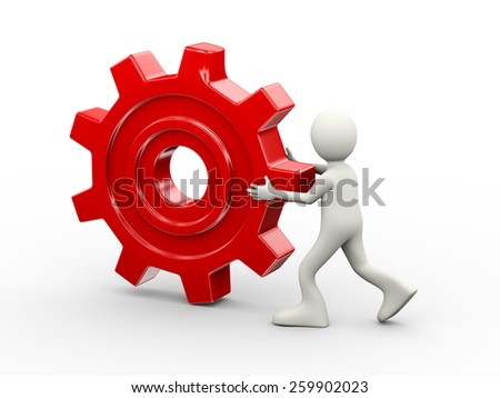 3d illustration of man carrying big red chrome metallic gear cogwheel. 3d human person character and white people
