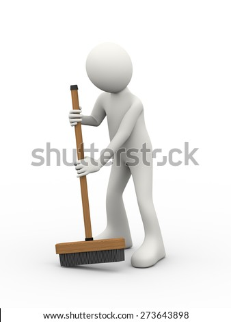 3d Illustration Of Man Cleaning With Broom Stick Brush 3d