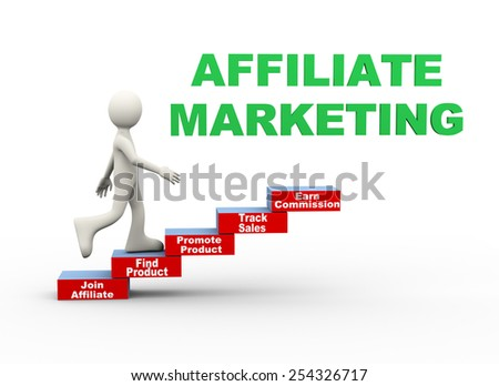 3d illustration of man climbing affiliate marketing word text steps concept. 3d human person character and white people