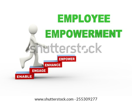 3d illustration of man climbing employee empowerment word text steps concept. 3d human person character and white people