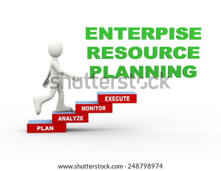 3d illustration of man climbing enterprise resource planning word text steps concept. 3d human person character and white people