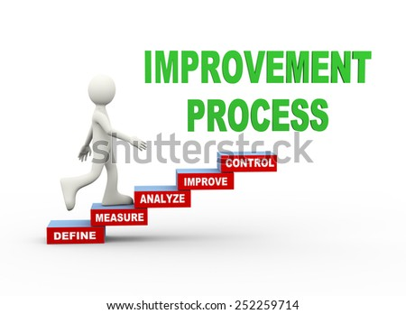 3d illustration of man climbing improvement process word text steps concept. 3d human person character and white people - stock photo