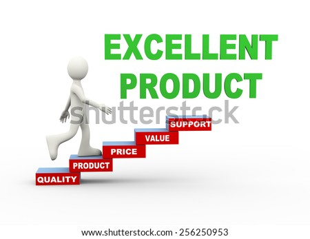 3d illustration of man climbing quality product word text steps concept. 3d human person character and white people