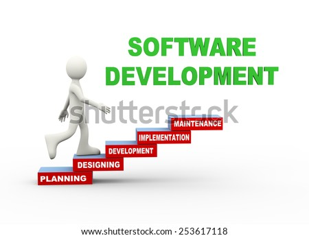 3d illustration of man climbing software development word text steps concept. 3d human person character and white people