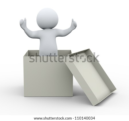 3d Illustration of man coming out of box. 3d rendering of human character welcome.