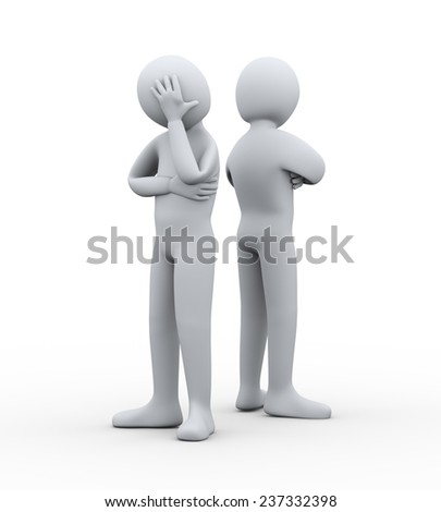 3d illustration of man having conflict and dispute with another person. 3d rendering of people - human character. - stock photo